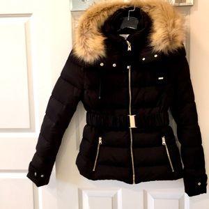 Zara Black Puffer Coat with Faux Fur Collar & Belt